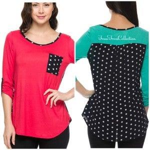 Dot Back Shirt ~ Coral or Jade