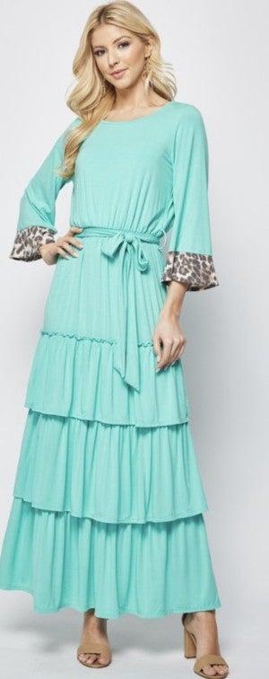 Leopard Cuff Tiered Dress