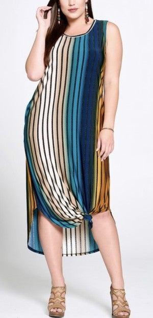 Taupe/Teal Stripe Sleeveless Dress *Final Sale*