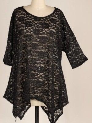 Black Lace Hankerchief Hem