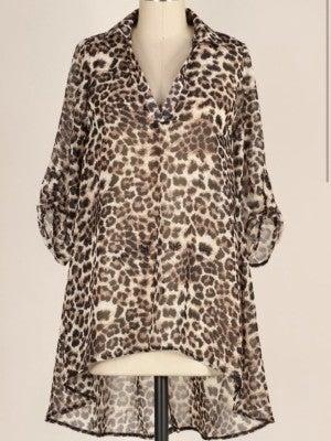 Leopard Sheer Hi/Lo Tunic