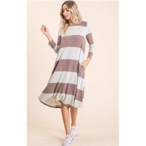Wide Stripe Midi Dress ~ Taupe or Berry *Final Sale*