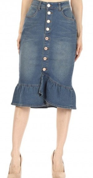 Be-Girl Midi Ruffle Hem/Button Front Denim Skirt