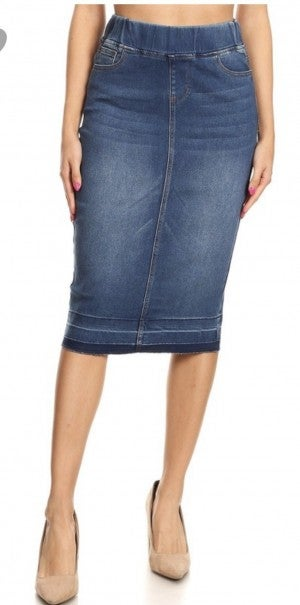 Be-Girl Midi Denim Skirt - Elastic Waist - Indigo or Vintage Wash - 557 *Final Sale*