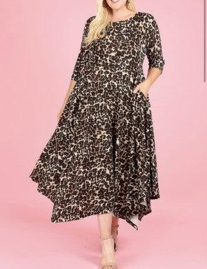 Leopard Midi Flare Style Dress