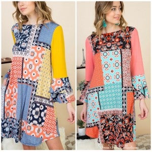Patchwork Tunic ~ Coral or Yellow ~