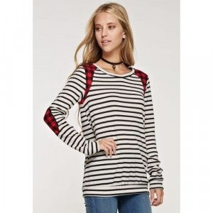Stripe/Buffalo Plaid Accent Banded Top *Final Sale*