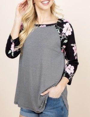 Striped/Floral Raglan Sleeve Top