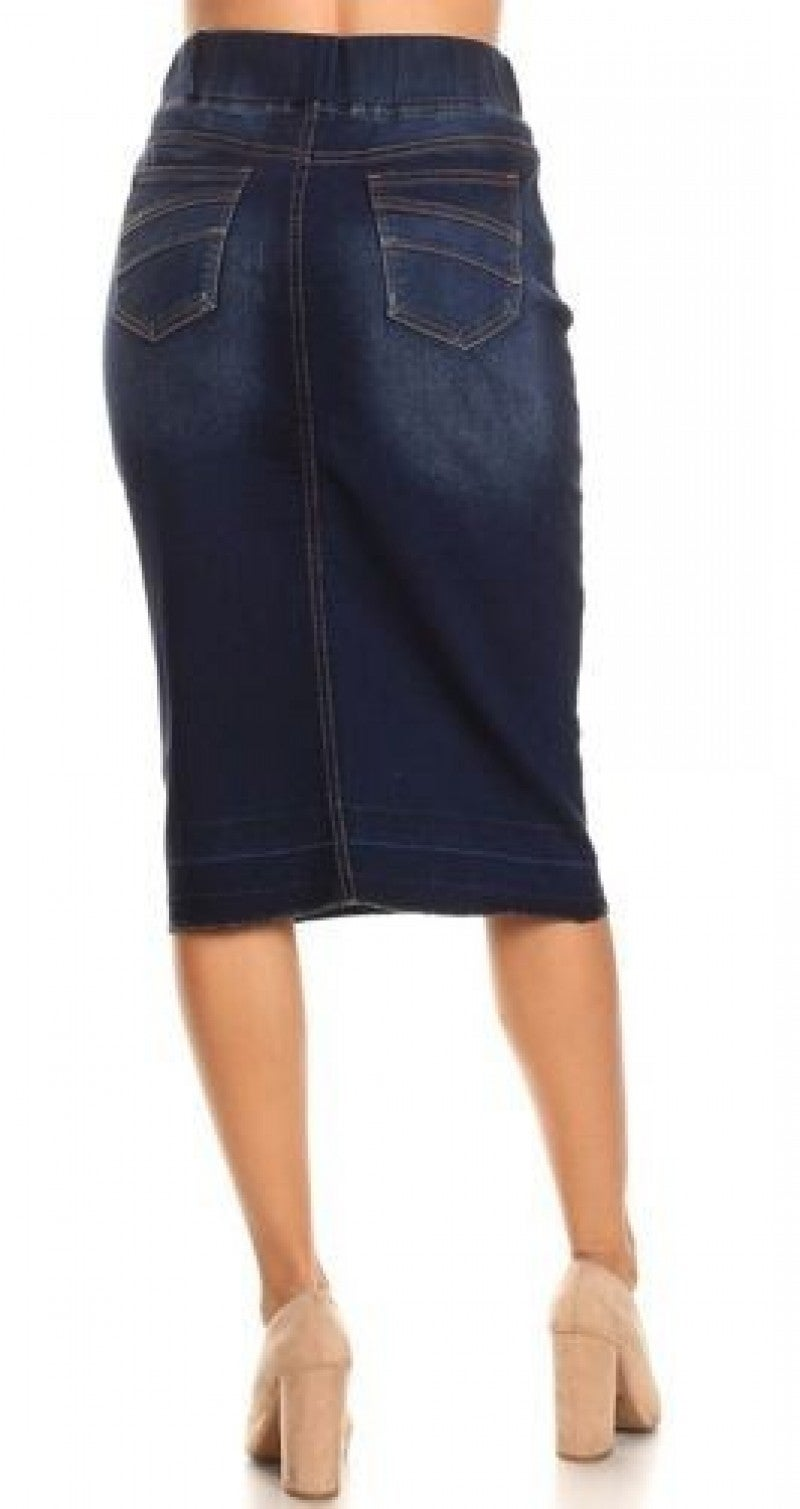Be-Girl Denim Dark Indigo Midi Skirt - Elastic Waistband