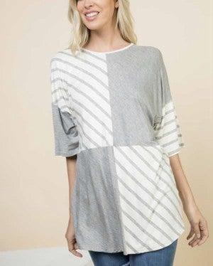 Grey/Stripe Contrast Top *Final Sale*