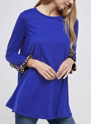 Solid Tunic with Leopard Ruffle Trim