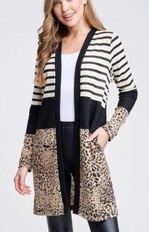 Stripe/Leopard Open Cardi *Final Sale*