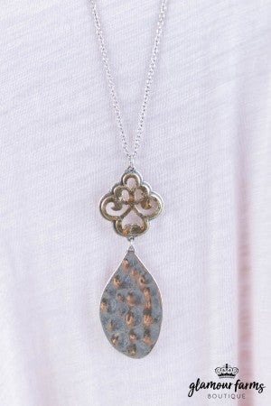 sku8052 | Two Tone Filigree And Teardrop Necklace