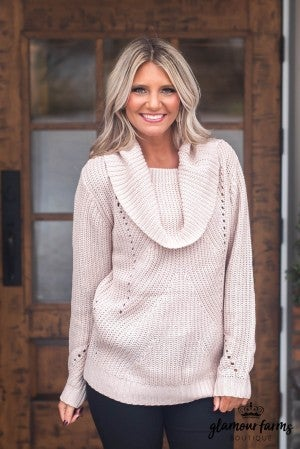 **DOORBUSTER** Let It Snow Fold Over Tunic Sweater