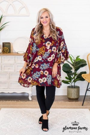 sku9443 | Floral Ruffle Bell Sleeve Dress