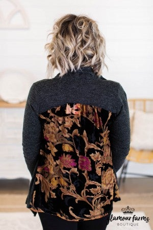 sku10675 | **Daily Deal** Floral Contrast Cardigan
