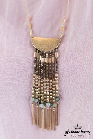 sku8168 | Mixed Bead Tassel Necklace