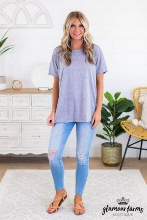 sku11896 | **Daily Deal** Reverse Stitch Raw Hem Tunic