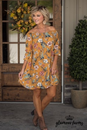 Belled Sweetness Floral Dress - Mustard