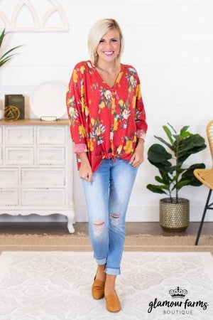 sku9390 | **Daily Deal** Floral Front Tie Top