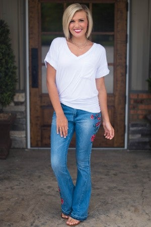 Gillian Embroidered Flare Jean