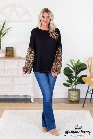 sku9195 | **Daily Deal** Mixed Print Puff Sleeve Top