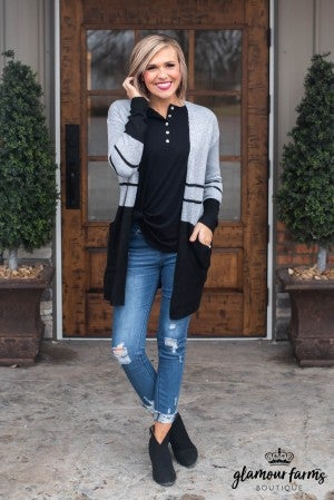 Good Vibes Color Block Cardigan