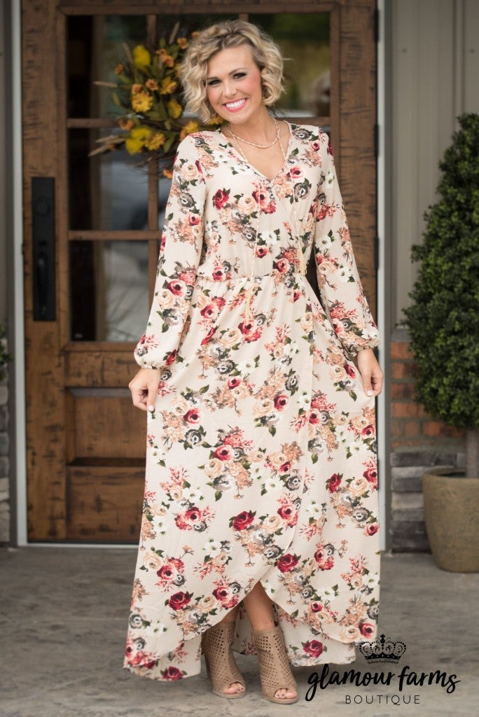 Lasting Impression Floral Maxi Dress - Taupe