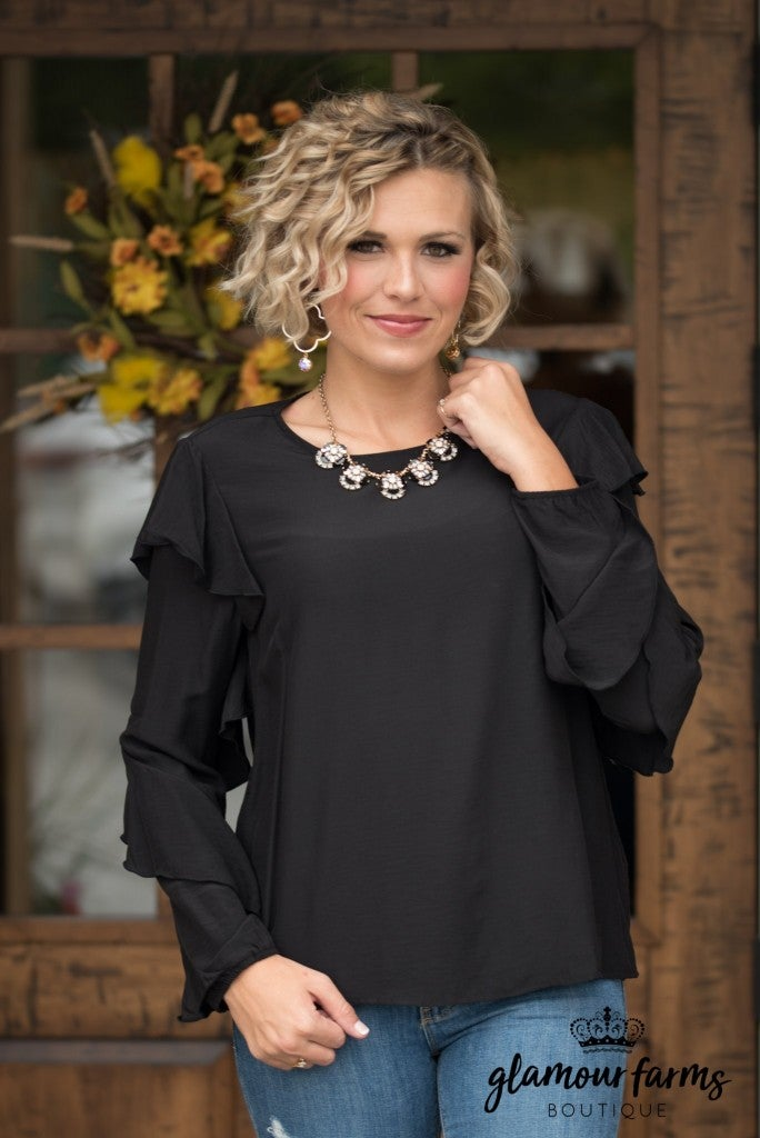 Be The Change Ruffle Top - Black