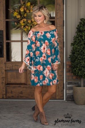 Texas Today Floral Dress - Teal