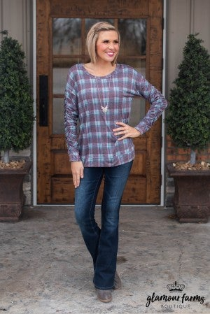 **Daily Deal** Siria Ruched Plaid Top