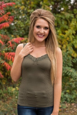Ahh-Mazing Lace Short Shapers - Olive