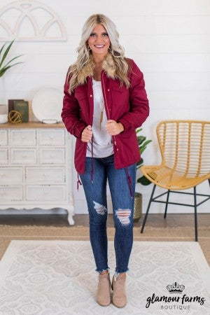 sku10991 | Faux Fur Collared Utility Jacket