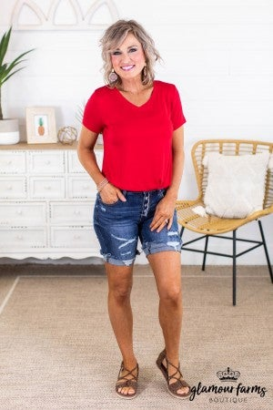 sku13666 | Distressed Button Fly Bermuda Shorts