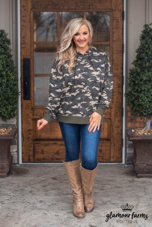 At Attention Hooded Camo Pull-Over