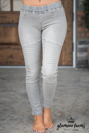 That's My Moto Denim Legging - Light Gray