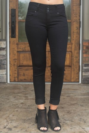 Skyler Three Button Skinny Jean