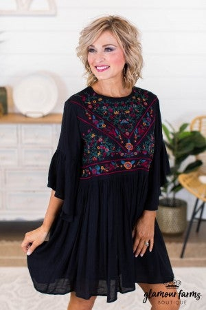 sku10569 | Embroidered Peasant Dress
