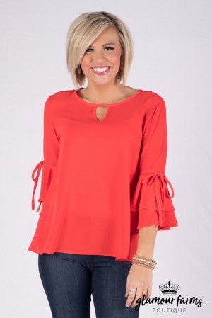 Ruffled Right Bell Sleeve Top