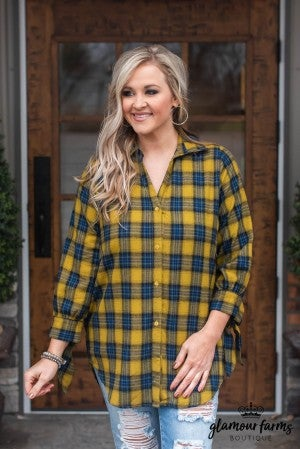 All Tied Up Plaid Button-Up