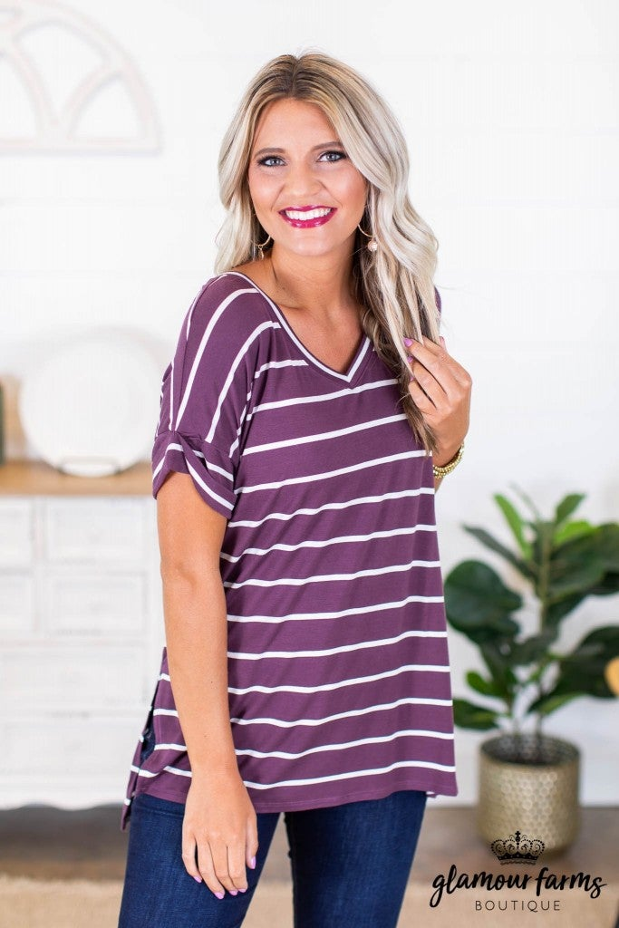 sku9030 | **Daily Deal** Stripe Hi-Lo Top