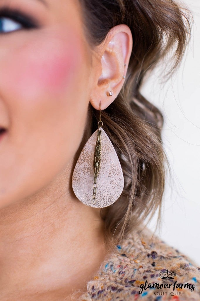 sku11086 | Leather Teardrop Earrings