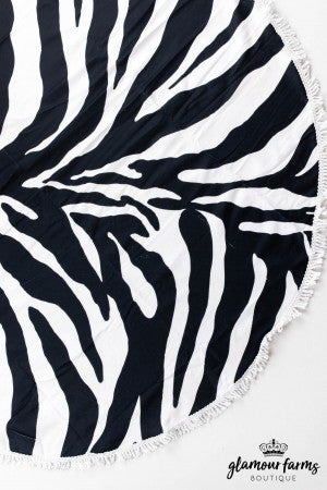 sku13318 | Round Animal Print Beach Towel