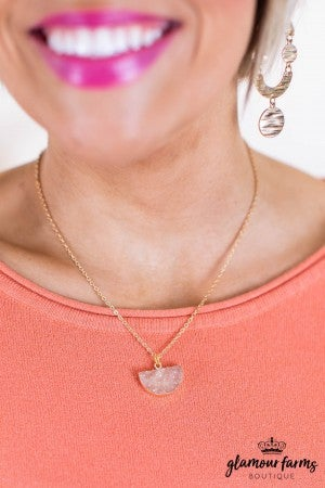 sku11101 | **Daily Deal** Druzy Pendant Necklace