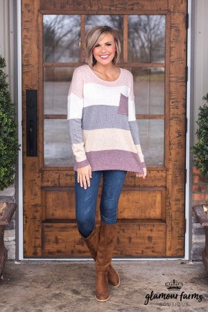 Square Off Color Block Sweater