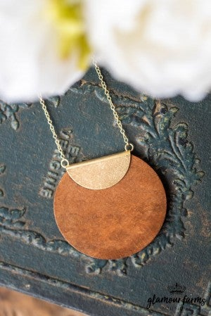 **Daily Deal** Over The Moon Wood Necklace