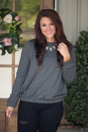 Emily's Lace-Up Back Sweatshirt - Charcoal