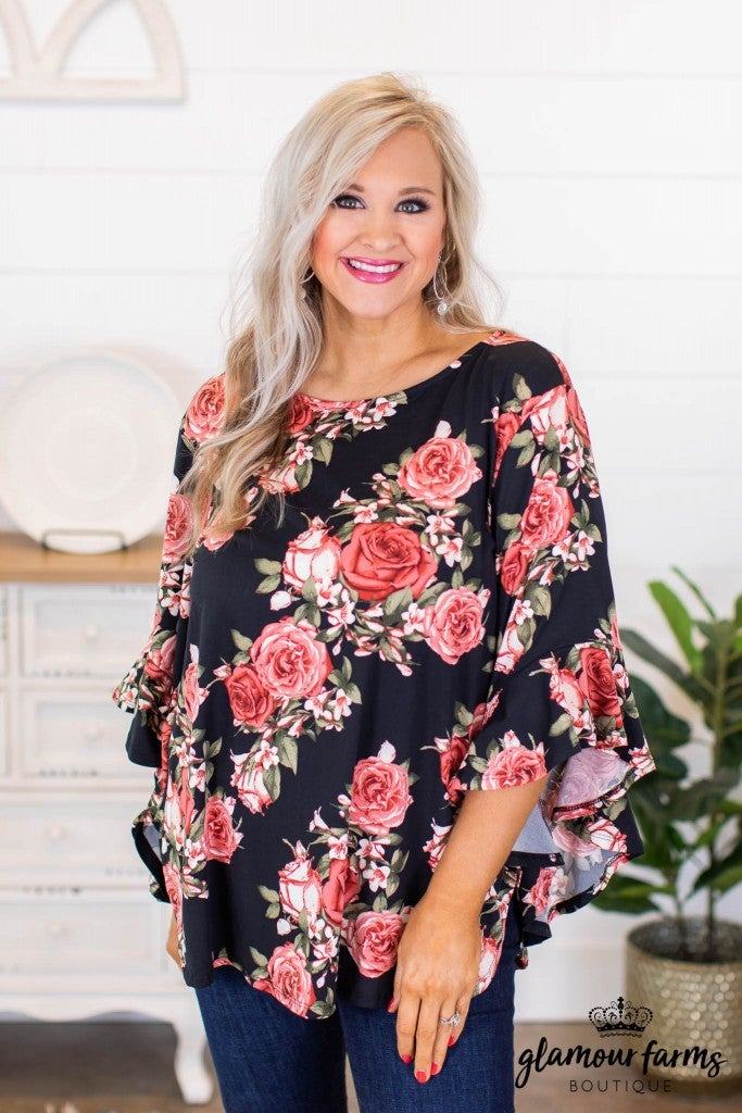 sku9174 | **Daily Deal** Floral Angel Sleeve Top