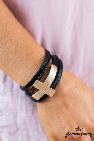 sku8013 | Sideway Cross Leather Bracelet