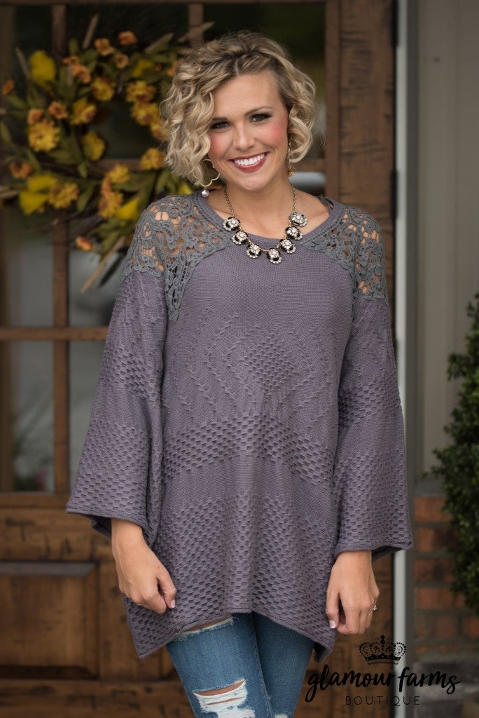 Give Me The Details Tunic - Smoke Gray